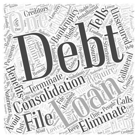 De voordelen van ongedekte leningen voor schuldconsolidatie woord wolk concept