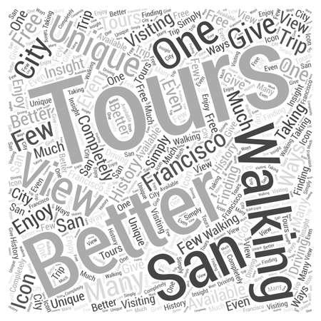 Walking Tours geven een uniek uitzicht op San Francisco History woord wolk concept Stock Illustratie