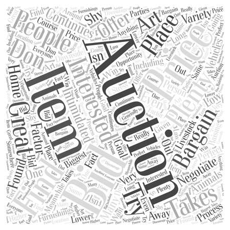 What Bargains are to be found at an Auction word cloud concept Çizim