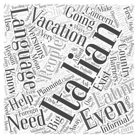 Wat u moet weten over de Italiaanse taal voor uw Italiaanse vakantie-woord wolk concept Stock Illustratie