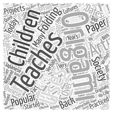 人社会今日単語雲の概念で使用する折り紙  イラスト・ベクター素材