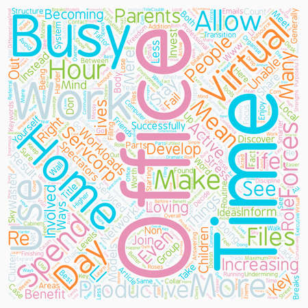 virtual office: Work from home with a Virtual Office text background wordcloud concept