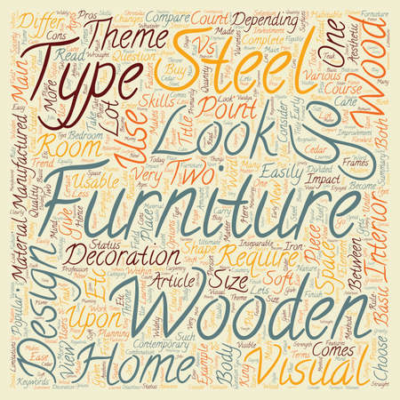 articles of furniture: Wooden Vs Steel Furniture Which one should I choose text background wordcloud concept