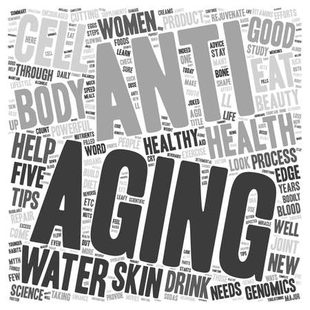 anti aging: Womena s Health Advice Five Powerful Anti aging Tips text background wordcloud concept