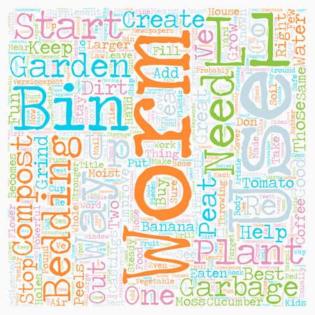 Worm Compost Bin text background wordcloud concept Illusztráció