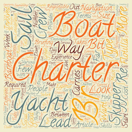 charter: Yacht Charter text background wordcloud concept