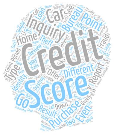 Su puntuación de crédito puede ser destruido por las investigaciones de crédito de fondo de texto simple concepto wordcloud Ilustración de vector