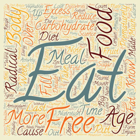 ageing: Your Food Can Prematurely Age You text background wordcloud concept Illustration