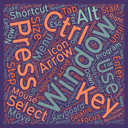 accomplish: Windows Keyboard Shortcuts text background wordcloud concept