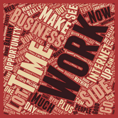 hype: Work From Home Hype And Baloney text background wordcloud concept Illustration
