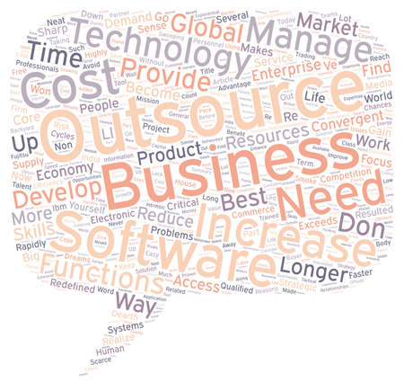 outsource: Why Outsource Work text background wordcloud concept