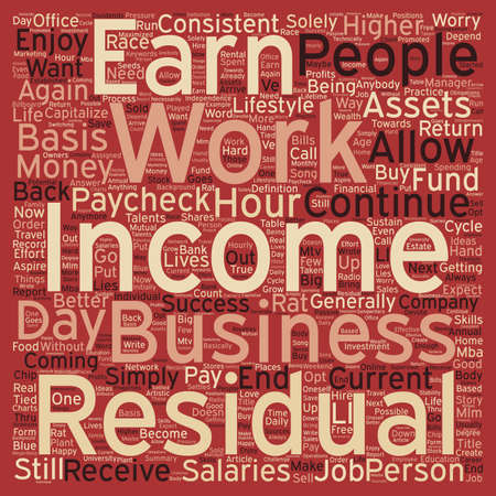 residual income: Why Residual Income text background wordcloud concept Illustration