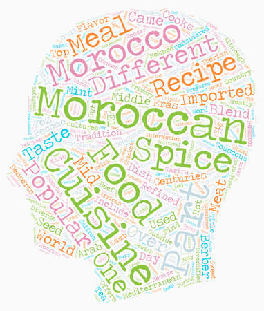 diversified: Why Moroccan Recipes And Cuisine Are Popular text background wordcloud concept Illustration