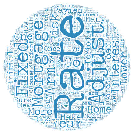 adjustable: Why Choose an Adjustable Rate Mortgage text background wordcloud concept