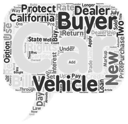 means: What The New California Car Buyer s Bill of Rights Means To You text background wordcloud concept
