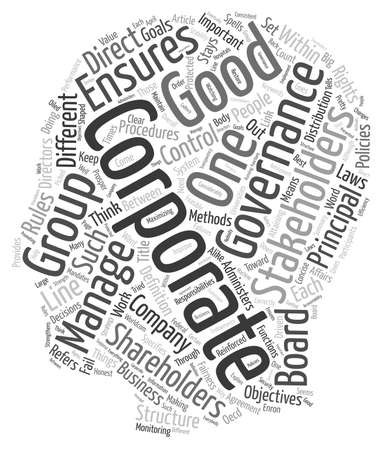 gobierno corporativo: What Is Good Corporate Governance text background wordcloud concept