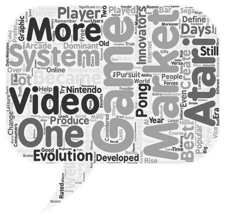 70 s: what is the best video game system text background wordcloud concept Illustration