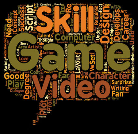 requires: Video Game Design Requires Multiple Talents text background wordcloud concept Illustration