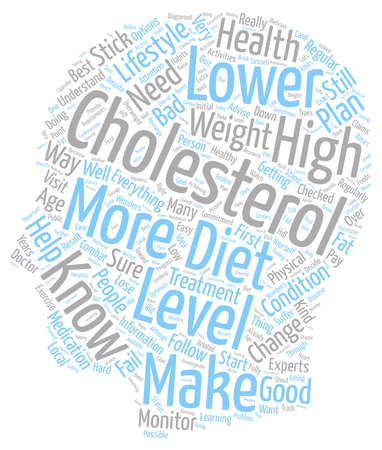 advise: ways to lower your cholesterol text background wordcloud concept Illustration