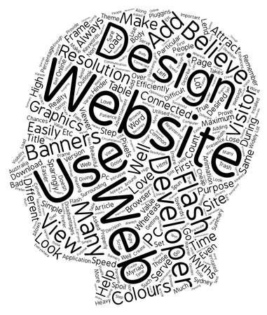 sparingly: Web design myths text background wordcloud concept Illustration