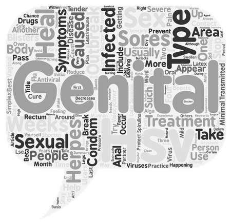 Behandeling van genitale herpes tekst achtergrond wordcloud begrip Stock Illustratie