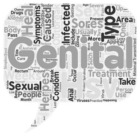 Treatment Of Genital Herpes text background wordcloud concept Stock Vector - 67835877