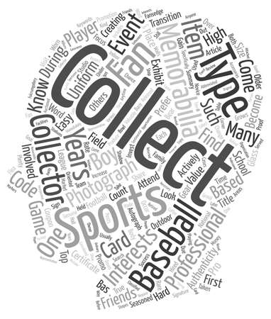collectibles: Types Of Sports Collectibles And Memorabilia text background wordcloud concept