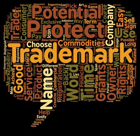 trademark: trademark name text background wordcloud concept Illustration