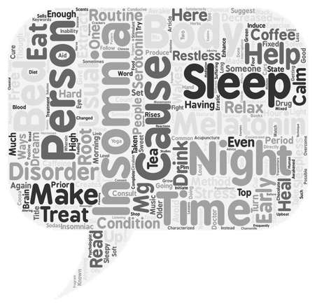 inability: Top 10 Drug Free Ways to Say Good Night to Insomnia text background wordcloud concept