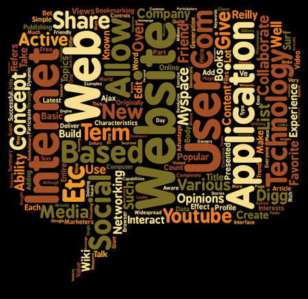 2 0: The Web 2 0 Effect The Characteristics of a web2 0 website text background wordcloud concept Illustration
