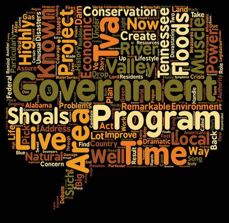 ongoing: The TVA text background wordcloud concept Illustration