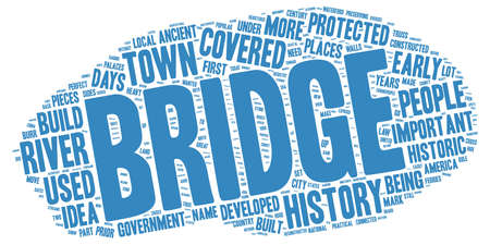 covered: The History of Covered Bridges text background wordcloud concept Illustration