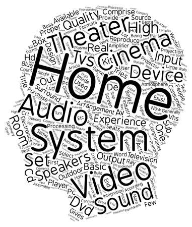 reproduce: The Inside And Out Of A Home Theater text background wordcloud concept Illustration