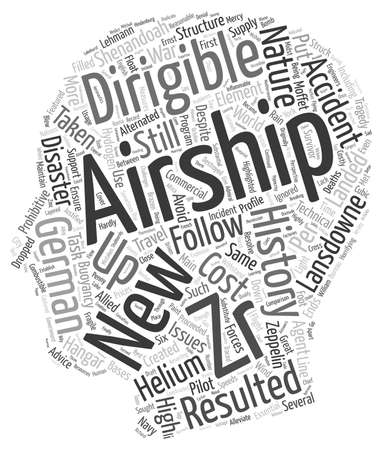 The history of Great Airships text background wordcloud concept