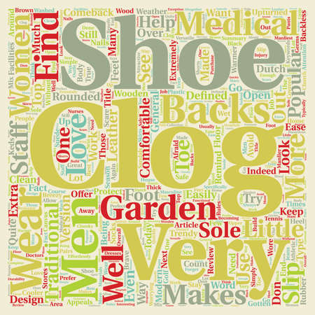 70 s: The Men and Women s Clog in Review text background wordcloud concept Illustration