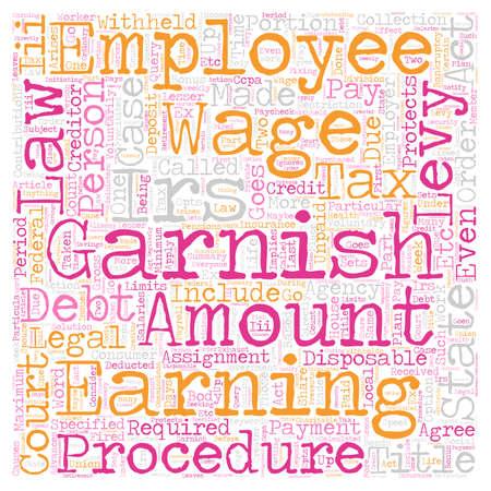 salarios: El procedimiento legal de Embargo de salarios de texto concepto de fondo wordcloud Vectores