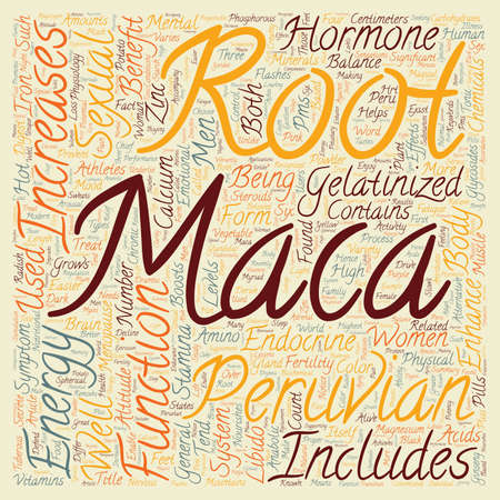 chemically: The Magical Benefits of Peruvian Maca text background wordcloud concept Illustration