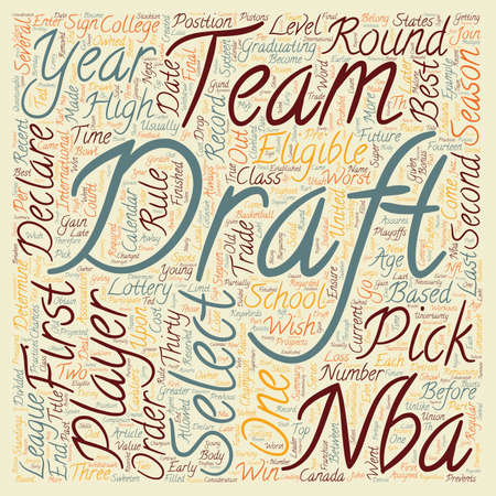 nba: The NBA Draft text background wordcloud concept Illustration