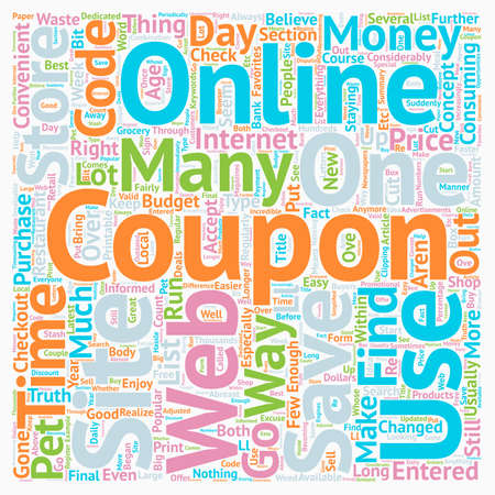 The Concept Of Coupons text background wordcloud concept Illustration