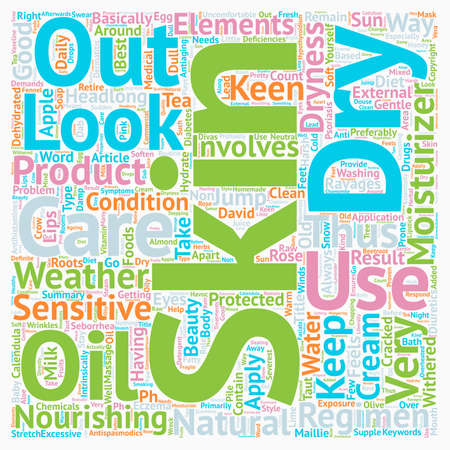 dry skin: The Best In Dry Skin Care How Not To Look Old text background wordcloud concept