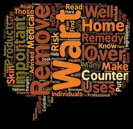 wart: The Dangers of At Home Wart Removal text background wordcloud concept