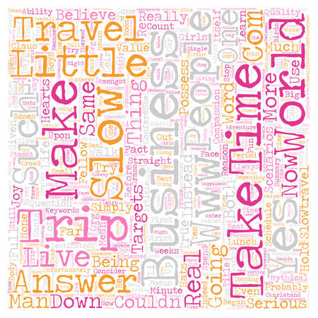 make believe: The Business Of Slow Travel text background wordcloud concept