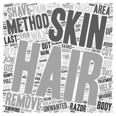 removal: The Different Methods of Hair Removal text background wordcloud concept Illustration