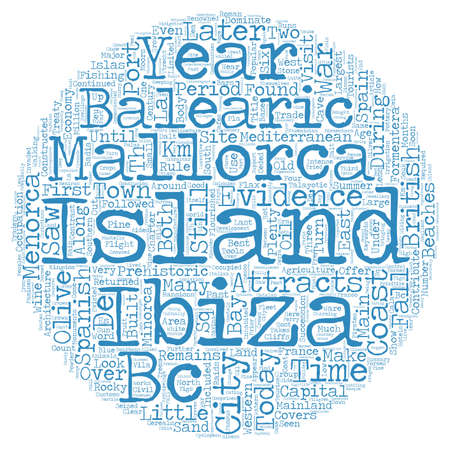 majorca: The Balearic Islands text background wordcloud concept