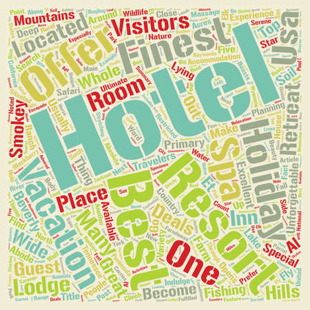 The Best Five Hotels Of USA text background wordcloud concept