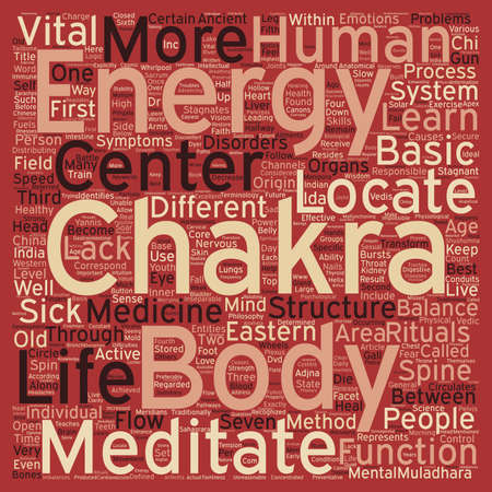 originating: The Body s Energy Centers text background wordcloud concept Illustration