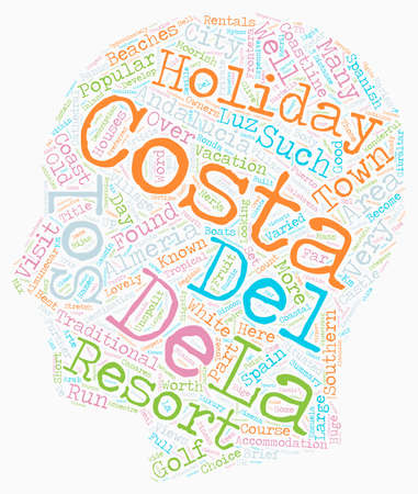 The Costas of Andalucia text background wordcloud concept Illustration