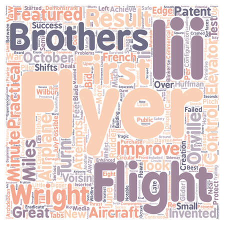 The First Practical Airplane text background wordcloud concept Illustration
