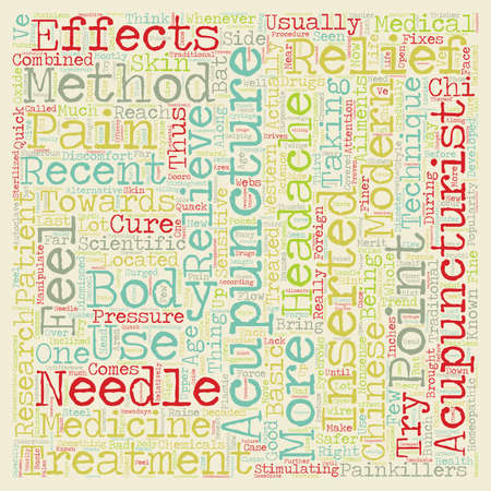 relieve: The Effectiveness Of Acupuncture text background wordcloud concept