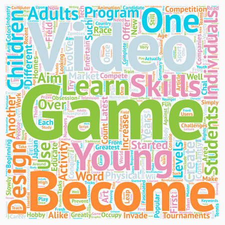 invade: The Art Of Video Game Design text background wordcloud concept Illustration